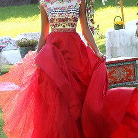 tulle prom dresses - Floral Printed Cap Sleeves Red/Multi 2016 Boat Neckline Beaded Long Chiffon Prom Dresses