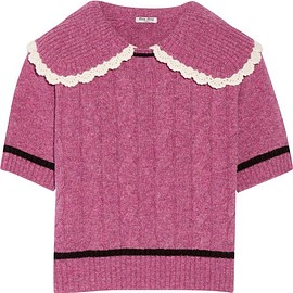 Miu Miu - Crochet-trimmed cable-knit wool sweater