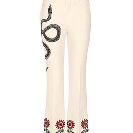 GUCCI - SS2016 Cropped flared silk and cotton trousers with appliqué