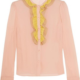REDValentino - Ruffled stretch-silk mousseline blouse