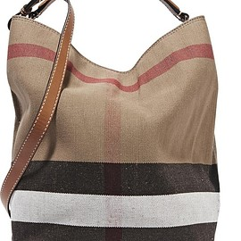Burberry - Leather-trimmed checked canvas hobo bag
