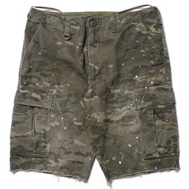 SOPHNET. - Camouflage Herringbone Field Short Pant (Painted Damage) - Dark Multi