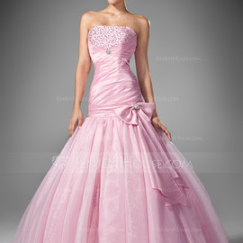 jenjenhouse - Mermaid Strapless Floor-Length Taffeta Organza Prom Dress With Ruffle Beading Sequins