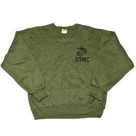 VINTAGE - Vintage USMC Army Green Crewneck Sweatshirt Made in USA Mens Size Small