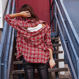 R13 - Plaid shirt with zip back