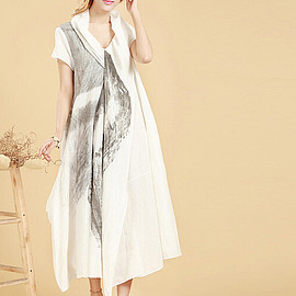 DRESS - White Loose Fitting  Linen Long Maxi Dress