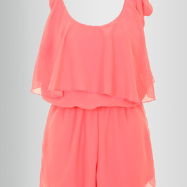 miss rebel - Chiffon Playsuit with Tye Detail in Coral