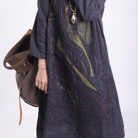 dress - linen Line applique dress
