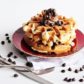 Belgian Cookie Dough Waffles with Chocolate