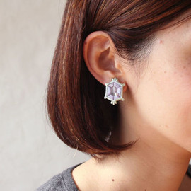 patterie - EMBROIDERED BIJOU PIERCE / EARRING (pale)