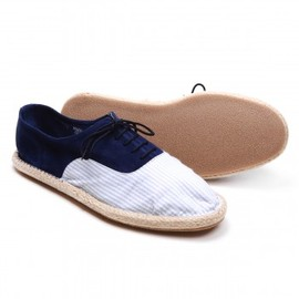 Del Toro - Men's Lace Up Blue Seersucker and Navy Suede Espadrille