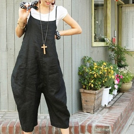 pants - Fashion Woman Bib black linen Large file pants  Loose Seven cents trousers