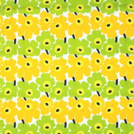marimekko - mini unikko yellow/yellow green fabric