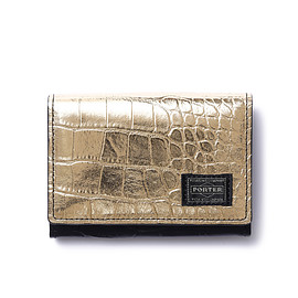 "HEAD PORTER - ""CROCO"" WALLET BLACK/GOLD"