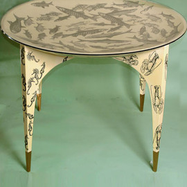 Gio Ponti and  Piero Fornasetti -  Pesci, cavallucci marini e astici (Fish, Seahorses, and Crayfish) concave table with glass top