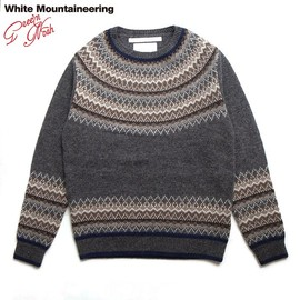 WhiteMountaineering - NORDIC PATTERN ROUND YOKE JACQUARD ROUND NECK KNIT SWEATER