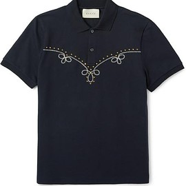 Gucci - Studded Embroidered Stretch-Cotton Piqué Polo Shirt