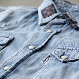 BLUEBLUE - ペイズリーパッチ DENIM WST SS SHIRT
