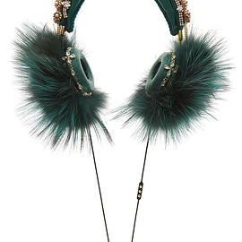 DOLCE&GABBANA - FW2015 Green Embroidered Nappa Leather Headphones With Fox Fur Trim