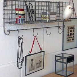 Distressed Metal Wall Storage with Hooks - ONLY WHITE AVAILABLE