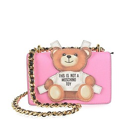 MOSCHINO - Moschino Cross Teddy Bear Tab Leather Shoulder Bag Pink