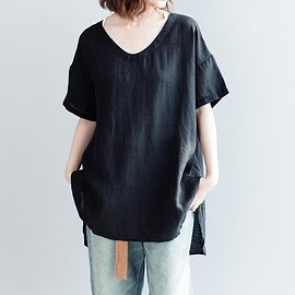 Linen blouse - Linen shirt, casual shirt, Linen blouse, short sleeved shirt, loose Linen top In black, white