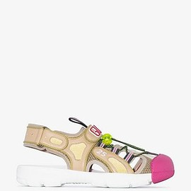 GUCCI - beige, green and pink tinsel leather and mesh sandals