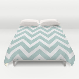 Society6 - robins egg blue chevron Duvet Cover