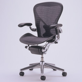 Herman Miller - Aeron Chair posture fit full-featured polish aluminum base B size tuxedo/blue-black
