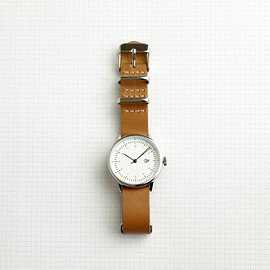 小物 - HAROLD mini #brown leather strap / white dial & silver