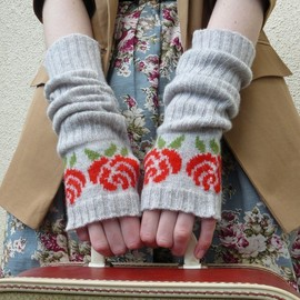 vKnit - Luxury Long Fingerless Gloves, Fingerless Mittens, English Red Rose in Pearl Grey and Tartan Scarlet Lambswool
