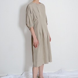 The Frankie Shop - Beige Elastic Sleeve Linen Dress