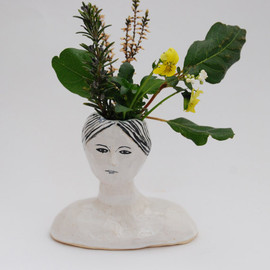 Kaye Blegvad - Ceramic head vase with flowers