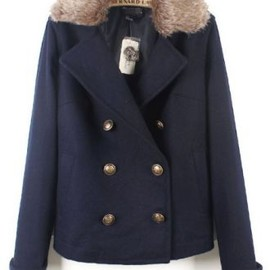 sheinside - Navy Fur Lapel Long Sleeve Buttons Pockets Coat pictures
