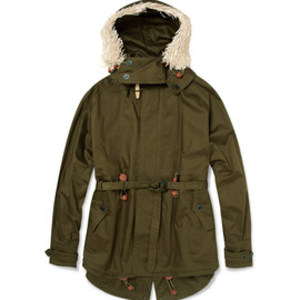 BURBERRY PRORSUM - Raffia Trimmed Cotton-Twill Parka