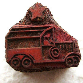Vintage  Japanese Rubber Stamp Car and Star 86