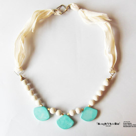 Rough'N'tumble - Summer collection turquoise silk ribbon necklace