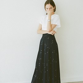 clane - SPRINKLE FLOWER LONG SKIRT
