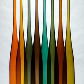 db glassworks - Tall Chiantis, blown glass