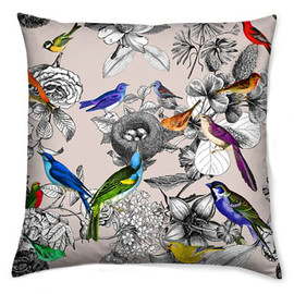 cserasurfacedesgn - Throw Pillow for Home Decor with Autumn Color Bird Print Beige Cushion Cover