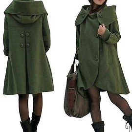 Wool Coat - Winter Coat, Wool Coat, Wool Coat Cloak In Dark green, Wool Loose Fitting Cape coat