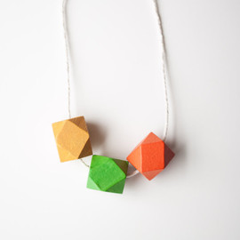 Geometric Painted Wood Necklace / Spring Collection: Citrus Spring Color Block Jewelry