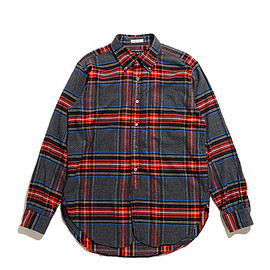 ENGINEERED GARMENTS - 19th BD Shirt-Brushed Plaid-Grey×Red