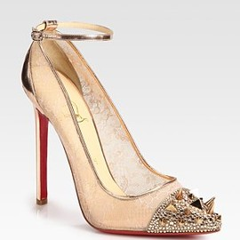 Christian Louboutin - Picks & Co Crystal Stud-Embellished Lace and Metallic Leather Pumps