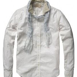 scotch & soda - CASUAL LONG-SLEEVED SHIRT WITH SCARF : Haze