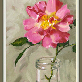 "Luulla - Rose print, limited edition giclee print in 11x14 mat, from an original painting, ""Old Garden Rose"""