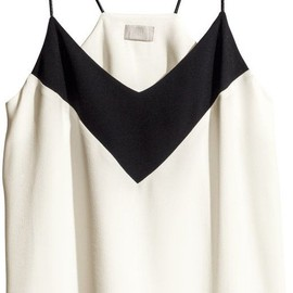 H&M - Crêpe Top - White/black