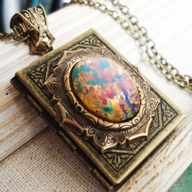 zipluxe - Banned Book- fire opal cabochon on filigree antique lace floral frame on vintage brass book floral  frame locket necklace