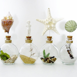 DoodleBirdie - Seaside Frozen Charlotte Doll Glass Bottle Terrarium