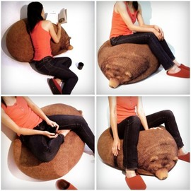 chicsindesigndotcom - Big Sleeping Grizzly Bear Bean Bag